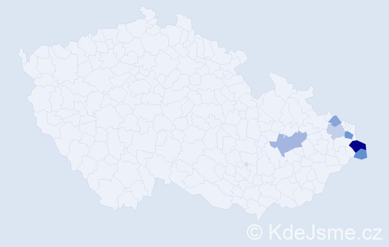 Příjmení: 'Gajdaczková', počet výskytů 15 v celé ČR