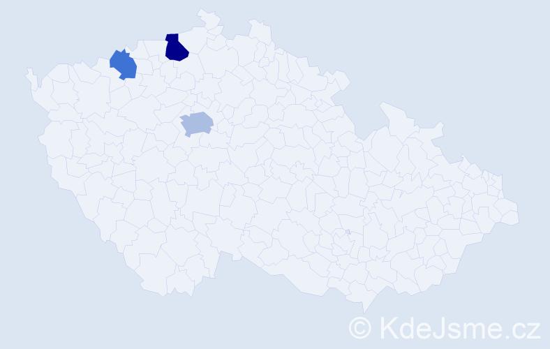 Příjmení: 'Kabrlová', počet výskytů 17 v celé ČR