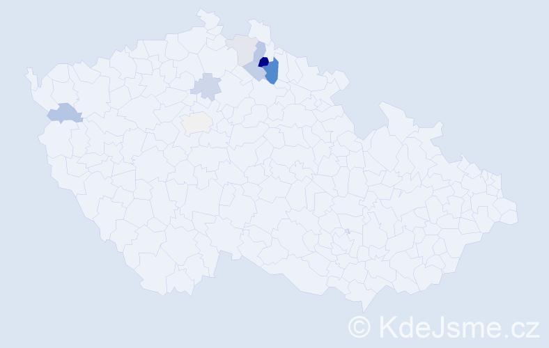 Příjmení: 'Čásár', počet výskytů 15 v celé ČR