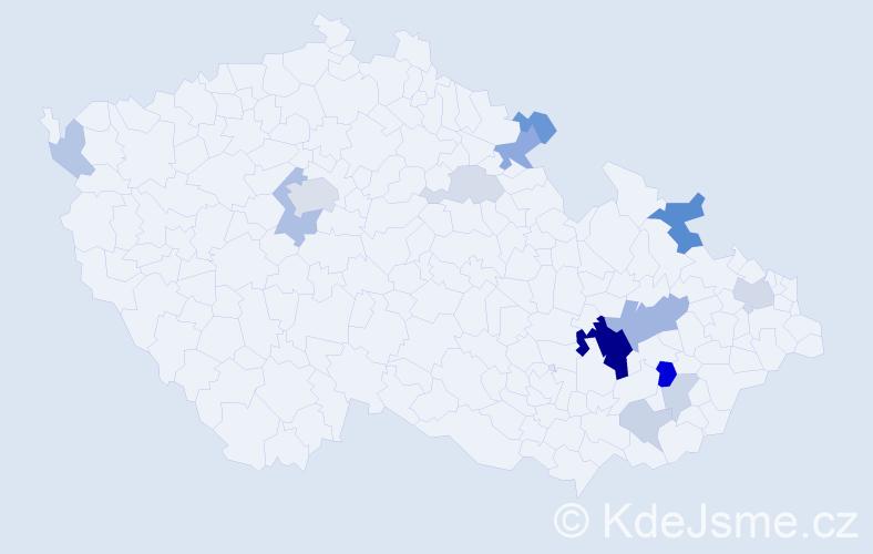 Příjmení: 'Hlavizna', počet výskytů 38 v celé ČR