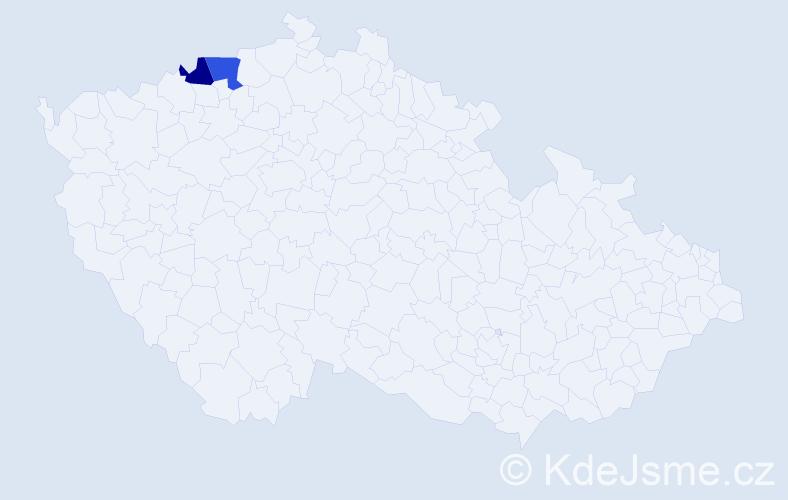 Příjmení: 'Jinger', počet výskytů 7 v celé ČR
