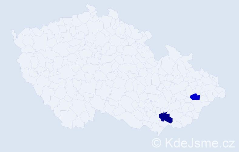 Příjmení: 'Kys', počet výskytů 5 v celé ČR