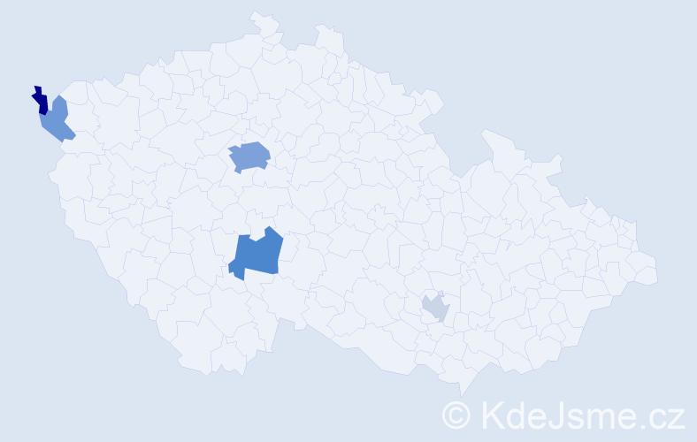Příjmení: 'Hachlová', počet výskytů 15 v celé ČR