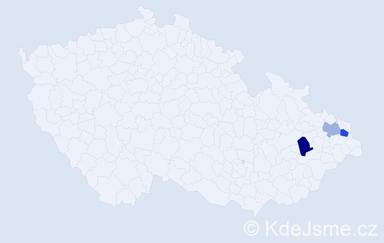 Příjmení: 'Čerňava', počet výskytů 7 v celé ČR