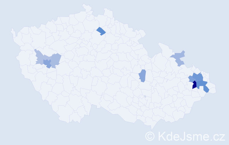 Příjmení: 'Beniš', počet výskytů 31 v celé ČR