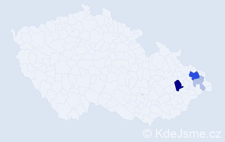 Příjmení: 'Daniec', počet výskytů 16 v celé ČR