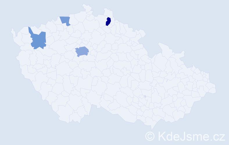 Příjmení: 'Gaši', počet výskytů 9 v celé ČR