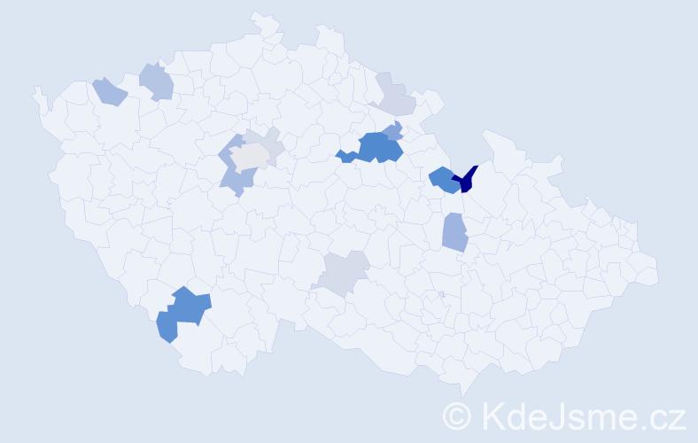 Příjmení: 'Halounková', počet výskytů 33 v celé ČR