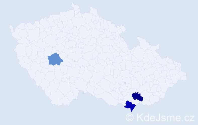 Příjmení: 'Čergeová', počet výskytů 5 v celé ČR