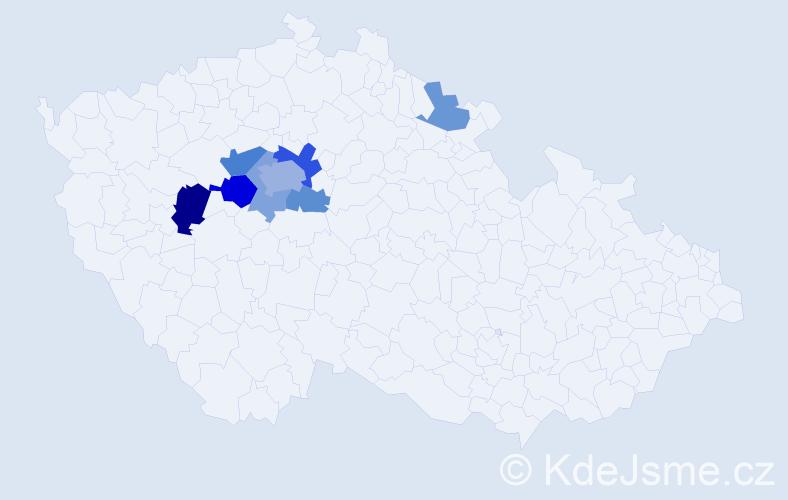 Příjmení: 'Klaudis', počet výskytů 16 v celé ČR