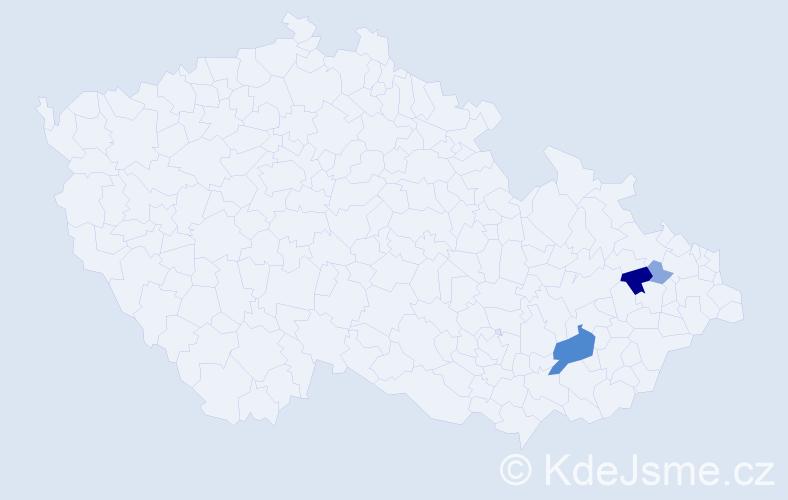 Příjmení: 'Kahaja', počet výskytů 29 v celé ČR
