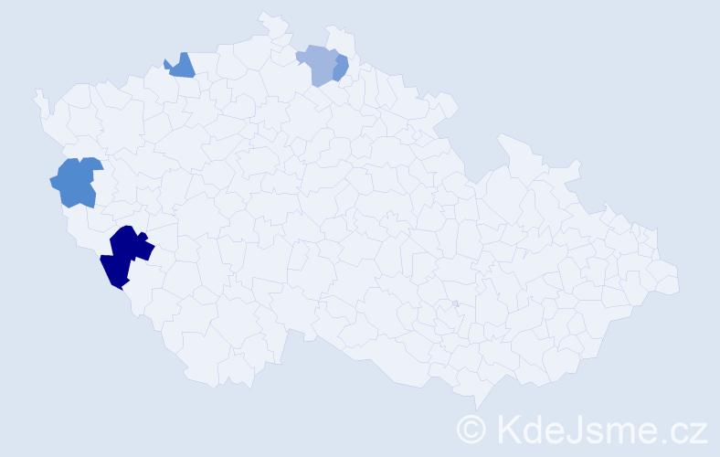 Příjmení: 'Čomaj', počet výskytů 7 v celé ČR