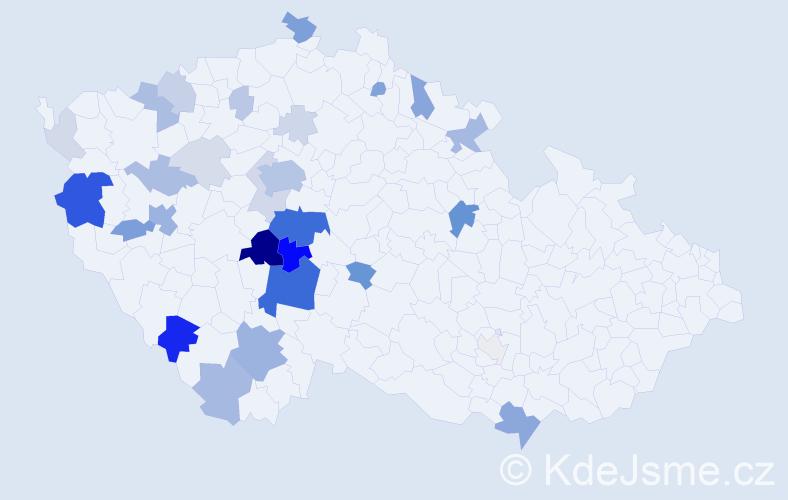 Příjmení: 'Děd', počet výskytů 118 v celé ČR