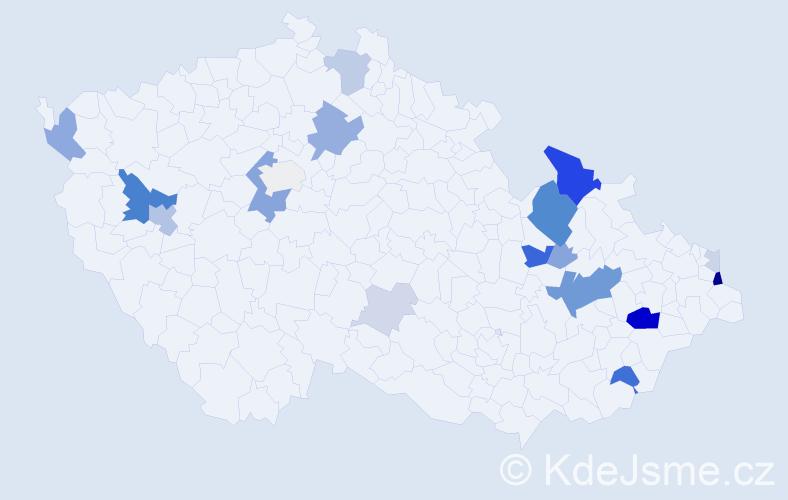 Příjmení: 'Heckelová', počet výskytů 57 v celé ČR