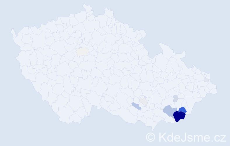 Příjmení: 'Kandrnálová', počet výskytů 62 v celé ČR