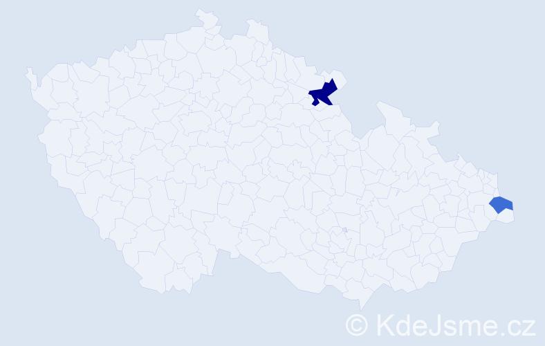 Příjmení: 'Aresin', počet výskytů 6 v celé ČR