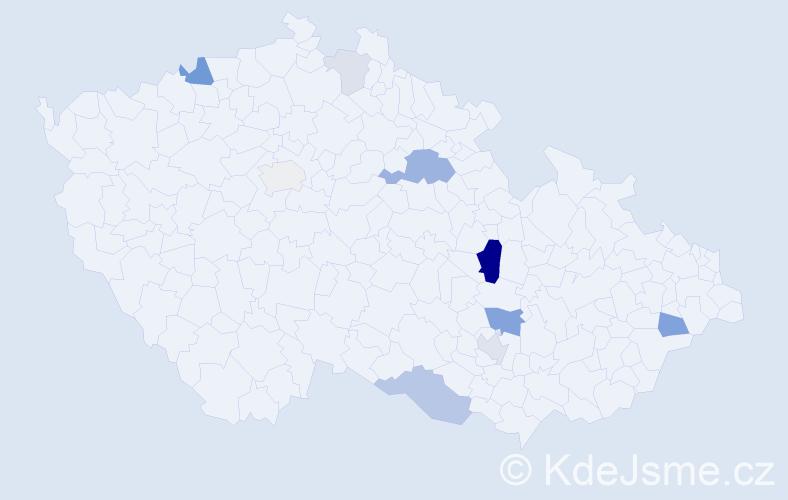 Příjmení: 'Cerhák', počet výskytů 25 v celé ČR