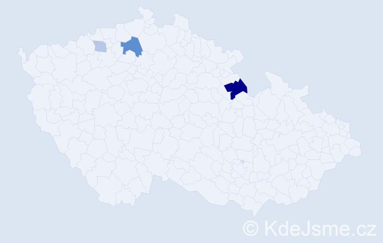 Příjmení: 'Baji', počet výskytů 8 v celé ČR