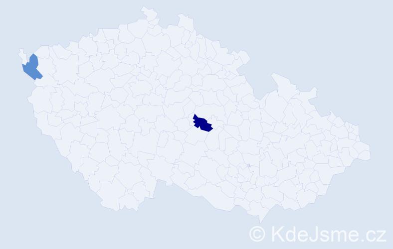 Příjmení: 'Kögel', počet výskytů 2 v celé ČR