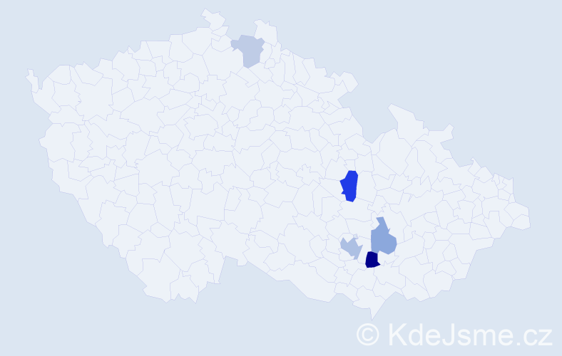 Příjmení: 'Bandouchová', počet výskytů 9 v celé ČR