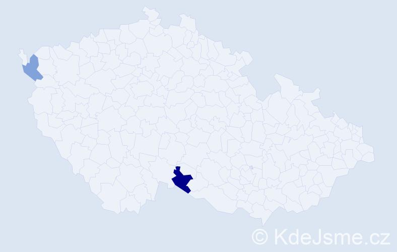 Příjmení: 'Bežáková', počet výskytů 5 v celé ČR