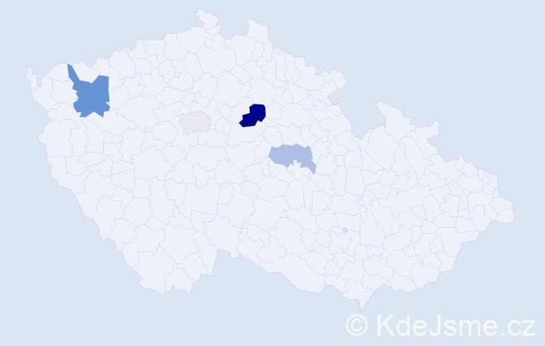 Příjmení: 'Farid', počet výskytů 8 v celé ČR