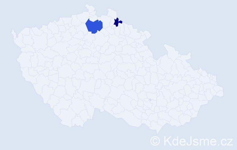 Příjmení: 'Čuklovičová', počet výskytů 3 v celé ČR
