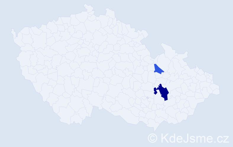 Příjmení: 'Lazičová', počet výskytů 5 v celé ČR