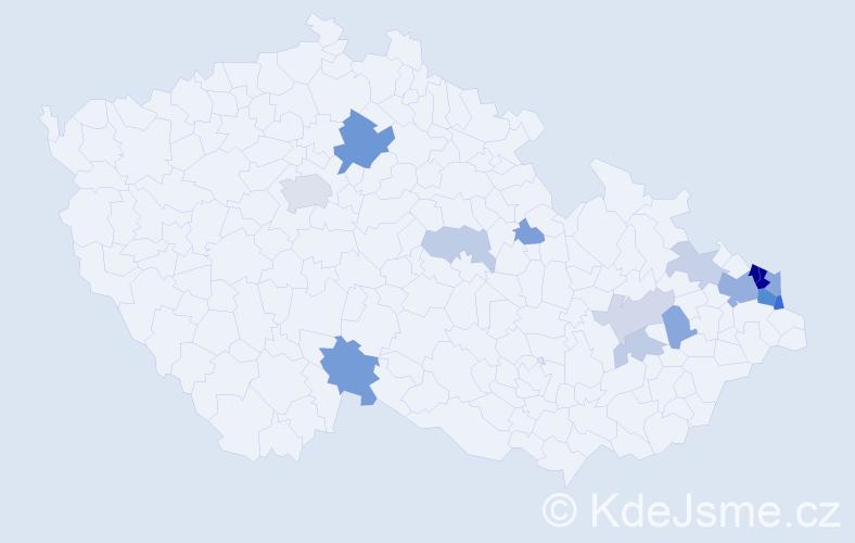 Příjmení: 'Kapiasová', počet výskytů 40 v celé ČR