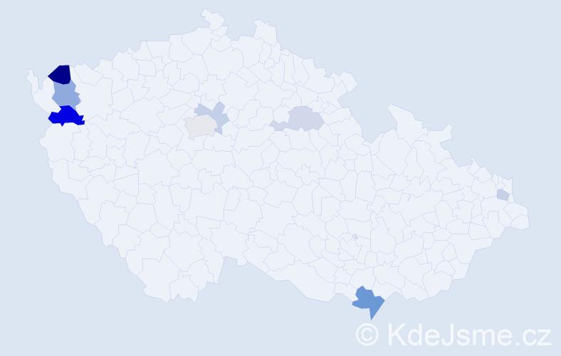 Příjmení: 'Gočál', počet výskytů 15 v celé ČR
