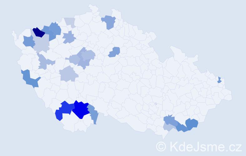 Příjmení: 'Čertíková', počet výskytů 64 v celé ČR