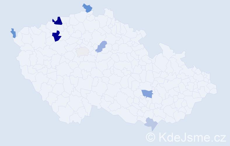 Příjmení: 'Jakubeková', počet výskytů 18 v celé ČR