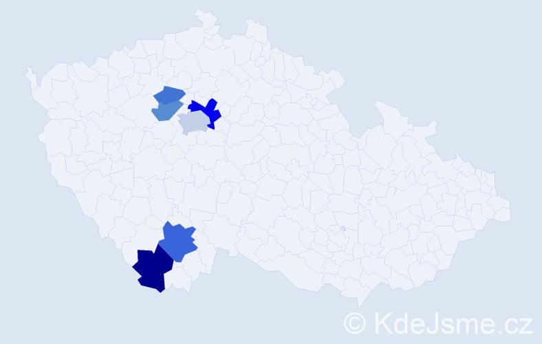 Příjmení: 'Hoďánková', počet výskytů 14 v celé ČR