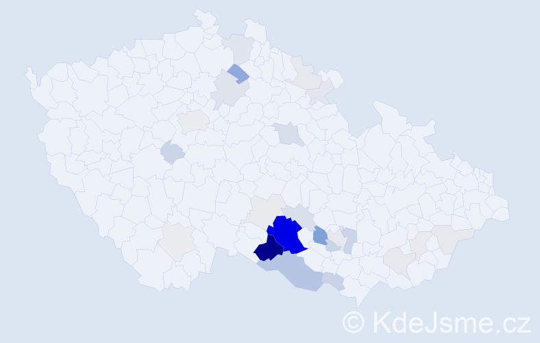 Příjmení: 'Jeleček', počet výskytů 93 v celé ČR