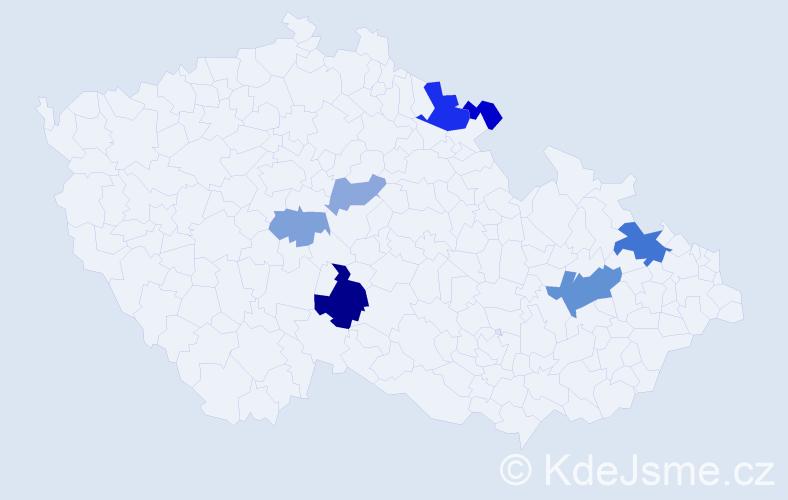 Příjmení: 'Láš', počet výskytů 15 v celé ČR