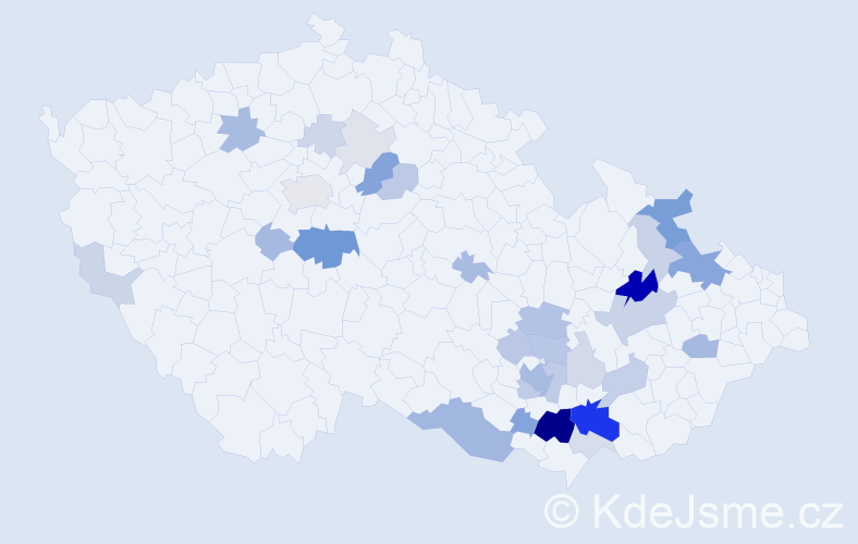 Příjmení: 'Kostrhoun', počet výskytů 95 v celé ČR