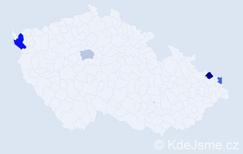 Příjmení: 'Lisy', počet výskytů 5 v celé ČR