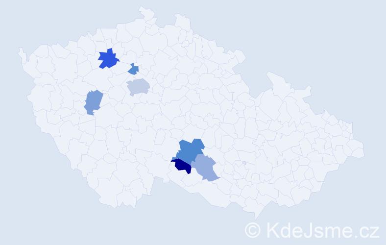 Příjmení: 'Lameš', počet výskytů 14 v celé ČR