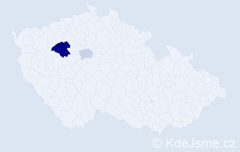 """Příjmení: '""""De Gennaro""""', počet výskytů 2 v celé ČR"""