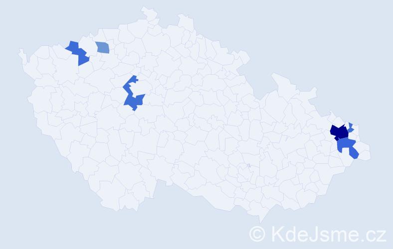 Příjmení: 'Borkovská', počet výskytů 15 v celé ČR