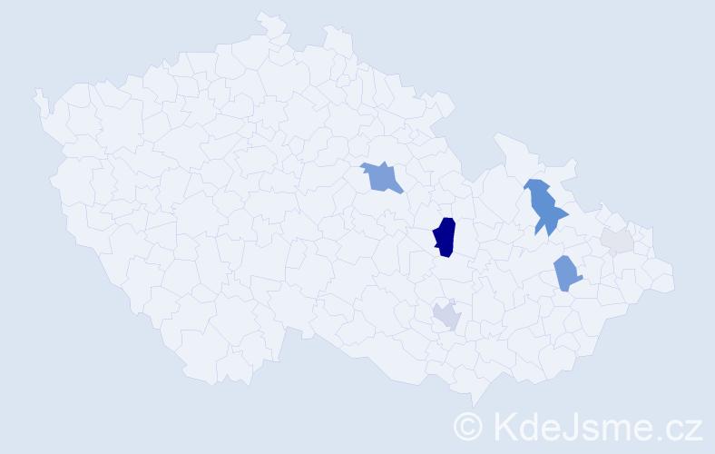 Příjmení: 'Holků', počet výskytů 20 v celé ČR
