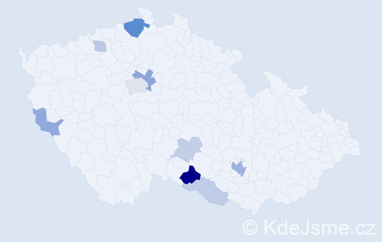 Příjmení: 'Černovický', počet výskytů 21 v celé ČR
