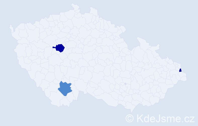 Příjmení: 'Korabiková', počet výskytů 5 v celé ČR