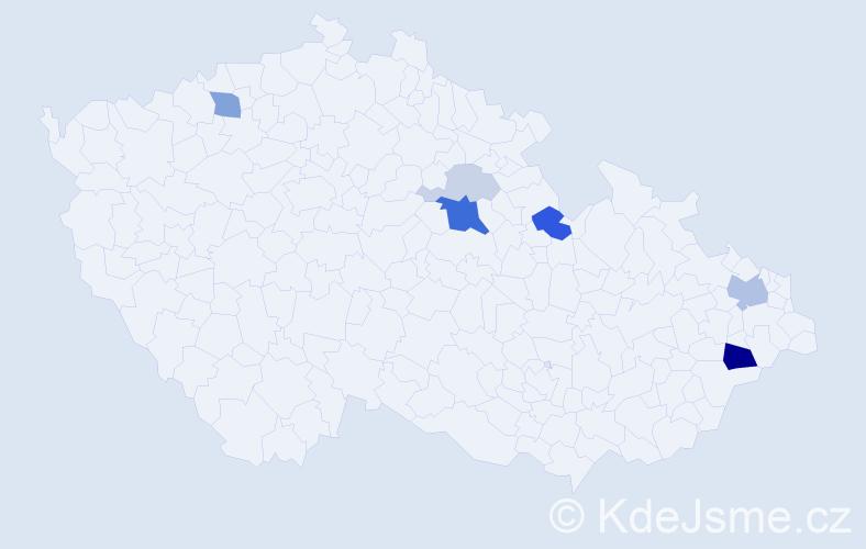 Příjmení: 'Kačmariková', počet výskytů 18 v celé ČR