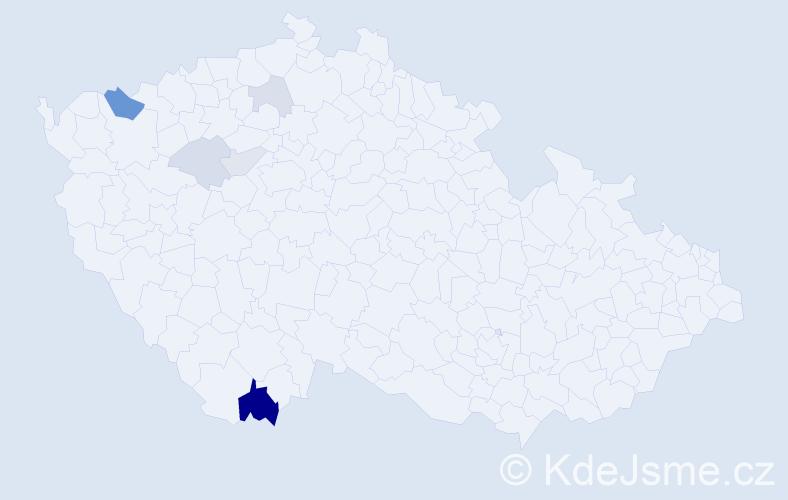 Příjmení: 'Lendacký', počet výskytů 14 v celé ČR