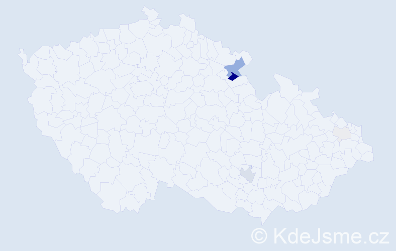 Příjmení: 'Asszonyi', počet výskytů 14 v celé ČR