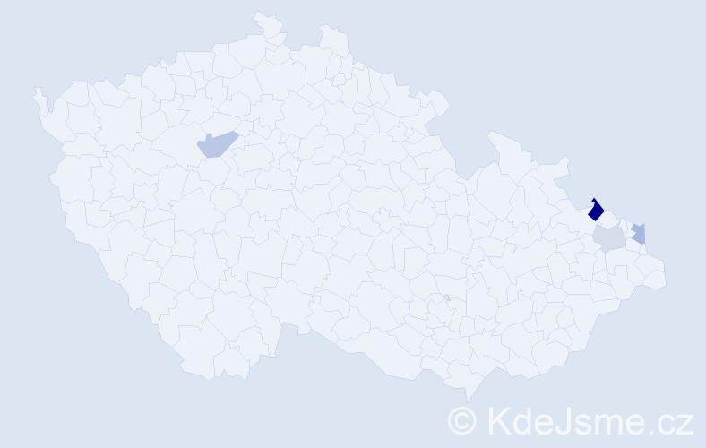 Příjmení: 'Gřívačová', počet výskytů 5 v celé ČR