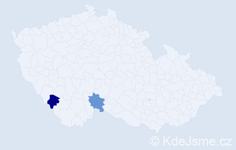 Příjmení: 'Jachnová', počet výskytů 4 v celé ČR
