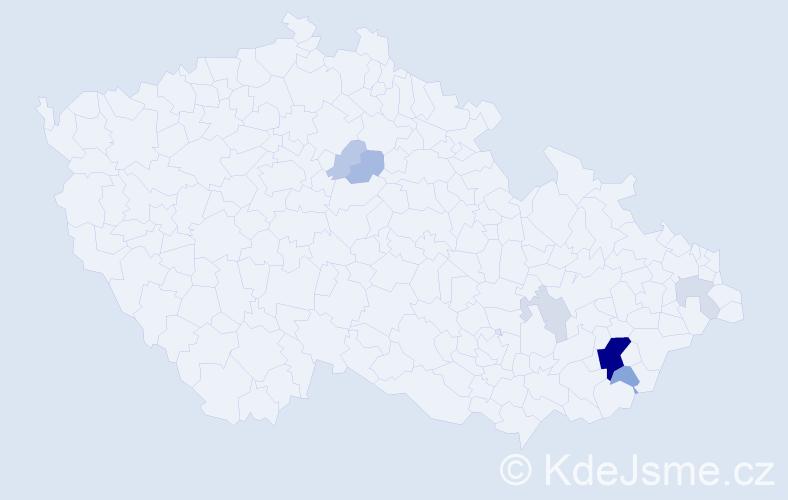 Příjmení: 'Končáková', počet výskytů 23 v celé ČR
