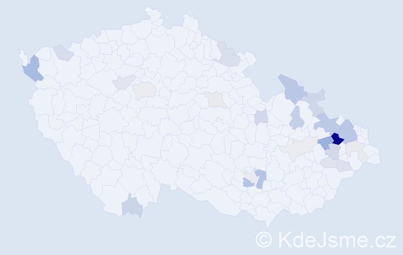 Příjmení: 'Čeganová', počet výskytů 82 v celé ČR